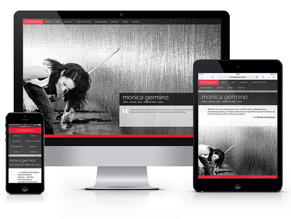 Responsive HTML5/CSS3 Wordpress theme for violinist Monica Germino. Mobile first approach.