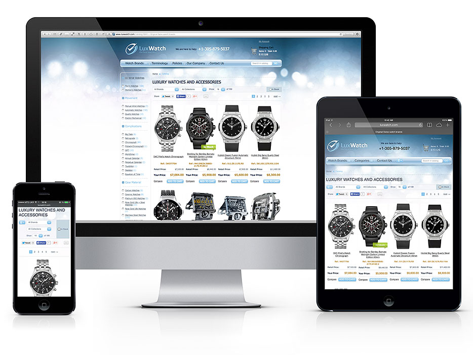 Responsive Magento theme for Luxury watches catalog. Senior Magento Developer in South Florida, Fort Lauderdale, Miami